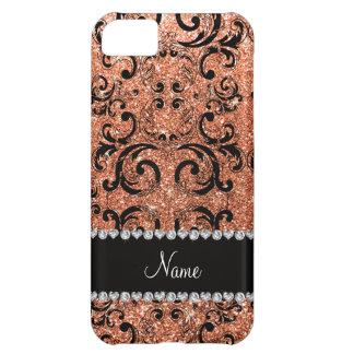 Custom name black pastel orange glitter damask case for iPhone 5C