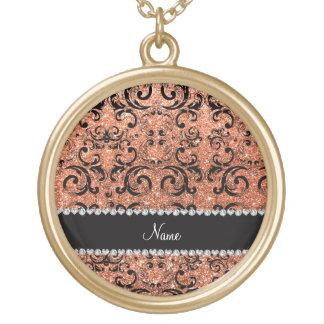 Custom name black pastel orange glitter damask pendant