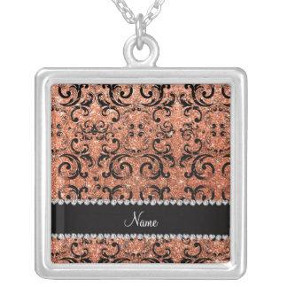 Custom name black pastel orange glitter damask custom necklace