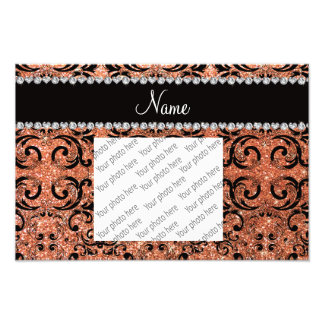 Custom name black pastel orange glitter damask art photo