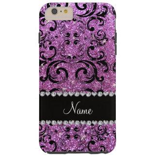 Custom name black pastel purple glitter damask tough iPhone 6 plus case