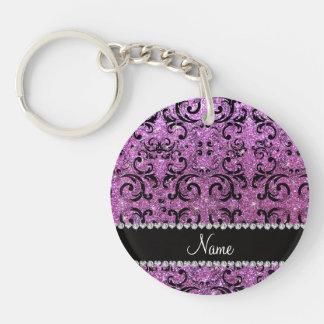 Custom name black pastel purple glitter damask acrylic key chains