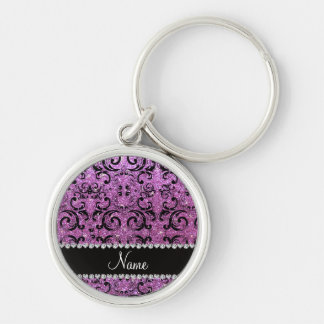 Custom name black pastel purple glitter damask keychains