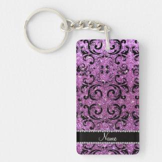 Custom name black pastel purple glitter damask rectangular acrylic key chains