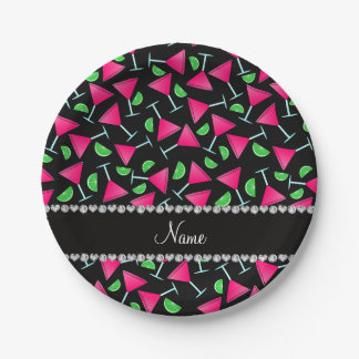 Custom name black pink cosmos limes paper plate