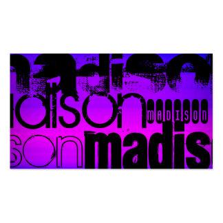 Custom Name; Black, Pink, Violet Blue, Magenta Double-Sided Standard Business Cards (Pack Of 100)