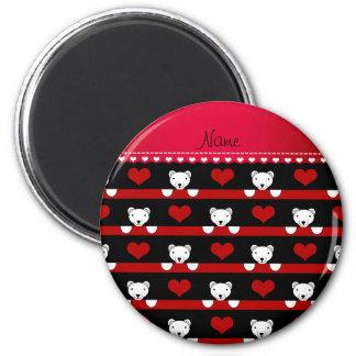 Custom name black polar bears red hearts stripes 2 inch round magnet