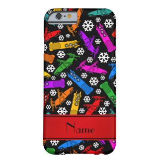Custom name black rainbow bobsleigh snowflakes barely there iPhone 6 case