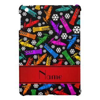 Custom name black rainbow bobsleigh snowflakes case for the iPad mini