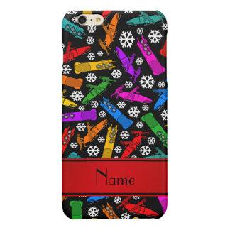 Custom name black rainbow bobsleigh snowflakes glossy iPhone 6 plus case