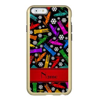 Custom name black rainbow bobsleigh snowflakes incipio feather® shine iPhone 6 case
