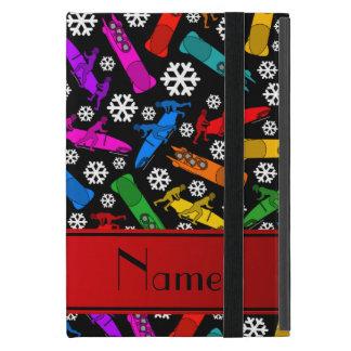Custom name black rainbow bobsleigh snowflakes iPad mini covers