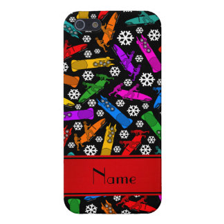 Custom name black rainbow bobsleigh snowflakes iPhone SE/5/5s case