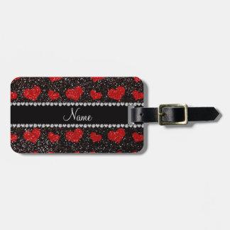 Custom name black red glitter hearts travel bag tags