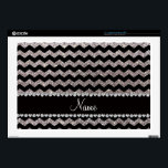 "Custom name black silver glitter chevrons decals for laptops<br><div class=""desc"">Trendy,  fancy,  chic and pretty Chevron gift ideas. Black glitter silver (faux not real glitter) pattern and bling black diamonds (not real diamonds) with pretty hearts and dots stripe (faux diamonds,  not real) personalized with your name gifts or monogram gifts or your initials. Zig zag gift ideas for women.</div>"