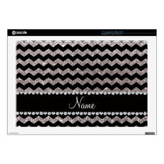 Custom name black silver glitter chevrons decals for laptops