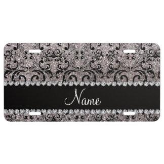Custom name black silver glitter damask license plate