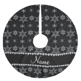 Custom name black silver snowflakes black stripe brushed polyester tree skirt
