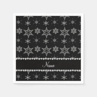 Custom name black silver snowflakes black stripe paper napkins