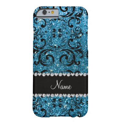 Custom name black sky blue glitter damask barely there iPhone 6 case