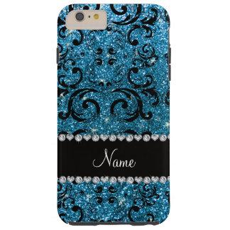Custom name black sky blue glitter damask tough iPhone 6 plus case