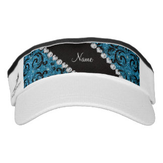 Custom name black sky blue glitter damask headsweats visors