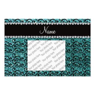 Custom name black turquoise glitter swirls photo print