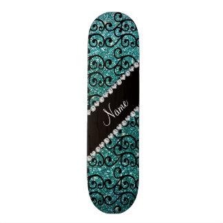 Custom name black turquoise glitter swirls skate board deck
