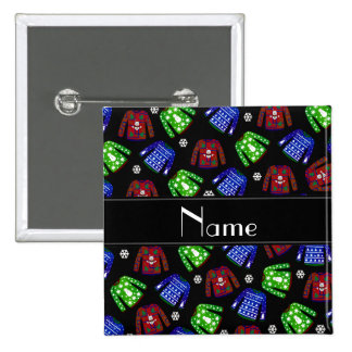 Custom name black ugly christmas sweater pattern 2 inch square button