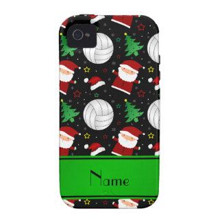 Custom name black volleyball christmas pattern iPhone 4 cases