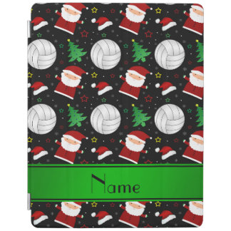 Custom name black volleyball christmas pattern iPad cover