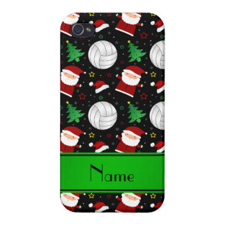 Custom name black volleyball christmas pattern case for iPhone 4