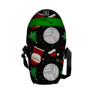 Custom name black volleyball christmas pattern messenger bags