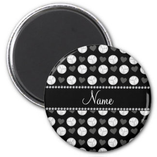 Custom name black volleyballs and hearts refrigerator magnet