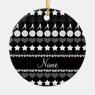 Custom name black volleyballs stars hearts peace ceramic ornament