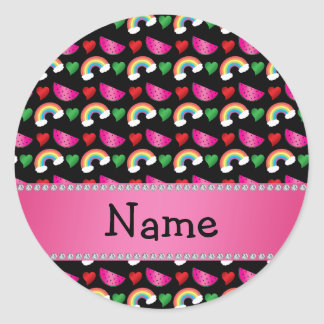 Custom name black watermelons hearts rainbows round sticker