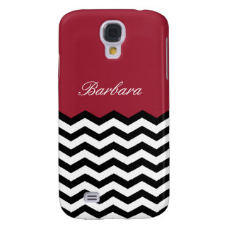 Custom Name Black & White Chevron On Spicy Red Samsung Galaxy S4 Cover