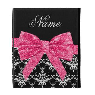 Custom name black white damask pink glitter bow iPad cases