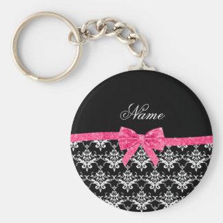 Custom name black white damask pink glitter bow keychain
