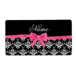 Custom name black white damask pink glitter bow label