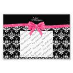 Custom name black white damask pink glitter bow photo print