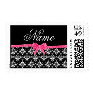 Custom name black white damask pink glitter bow postage
