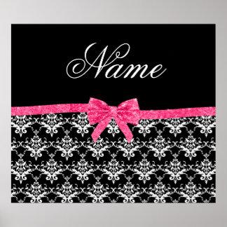 Custom name black white damask pink glitter bow poster