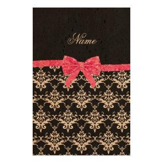 Custom name black white damask pink glitter bow queork photo prints