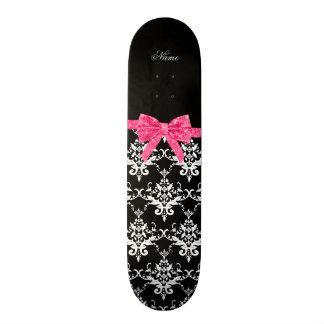 Custom name black white damask pink glitter bow skateboard deck