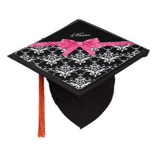 Custom name black white damask pink glitter bow graduation cap topper