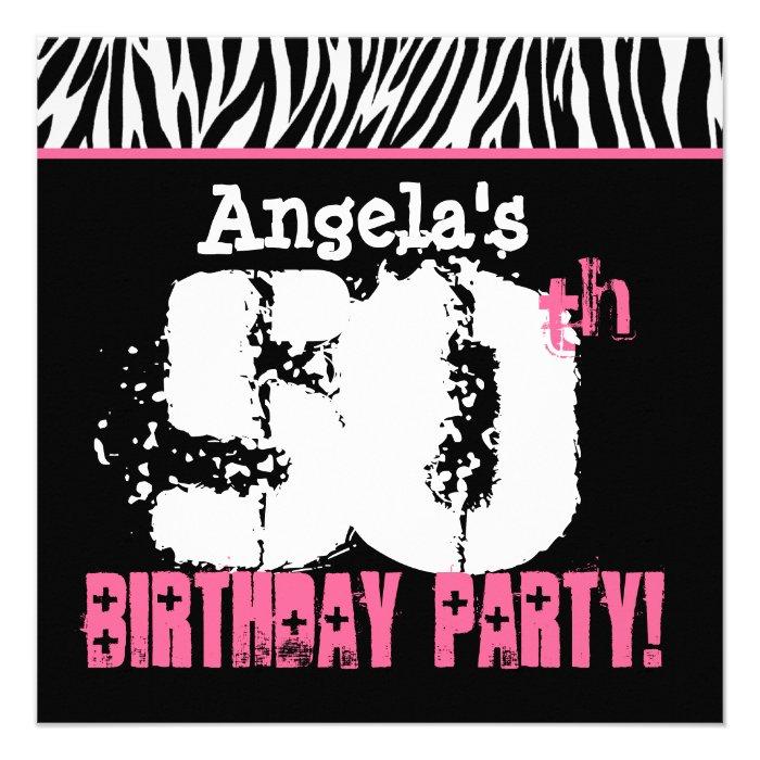 Custom Name Black White Pink Zebra 50th Birthday Invitation