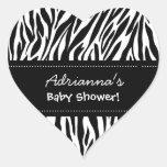 Custom Name Black White Zebra Baby Shower Heart Heart Sticker