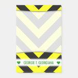 [ Thumbnail: Custom Name; Black & Yellow Chevron-Like Pattern Notes ]