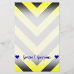 [ Thumbnail: Custom Name; Black & Yellow Chevron-Like Pattern Stationery ]